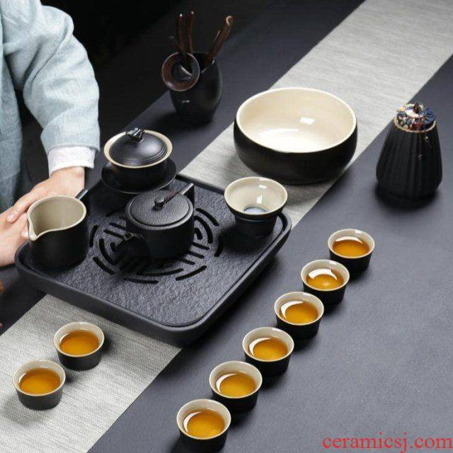 The kitchen together sheng tea set household contracted Japanese kung fu tea set of black ceramic teapot teacup black sharply away The stone