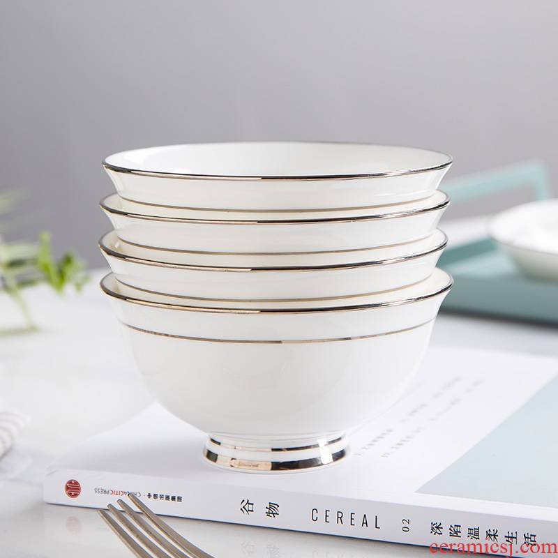 Jingdezhen ceramic white up phnom penh ipads porcelain bowl dish bowl large rainbow such as bowl soup bowl tall bowl of cutlery set
