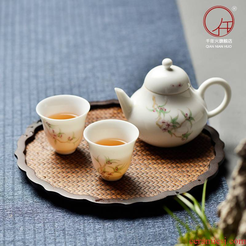 The Fire jingdezhen ceramic cups hand - made tea master cup one thousand kung fu tea set a pot of two cups