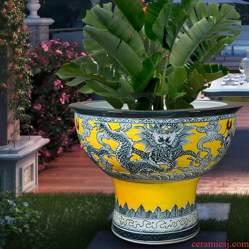 Jingdezhen ceramic flower pot cylinder large hydroponic tortoise bowl lotus pond lily copper money plant potted grass court goldfish bowl