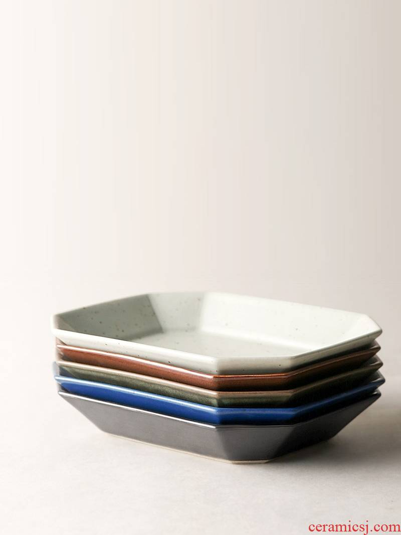 About Nine soil 0 coarse pottery contracted the Japanese manual flat ceramic plate number square snack dish of creative home