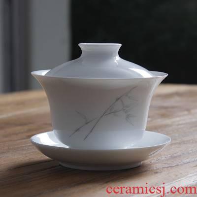 Submerged wood jingdezhen hand - made only three bowl of sweet white enamel bamboo tureen tea bowl of ceramic kung fu tea cups