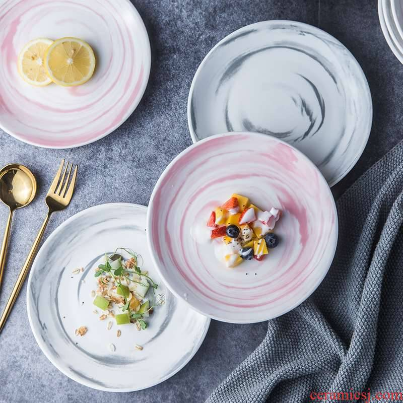 Ins the new grey Nordic ceramic disc marble plate household food dish plate web celebrity photos early dinner plate