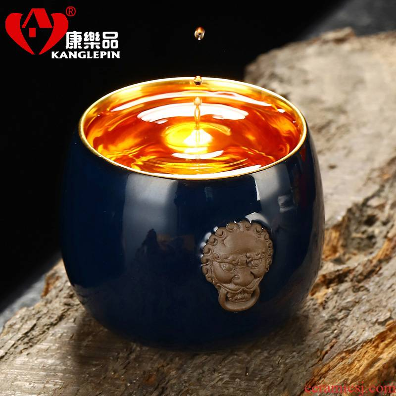 Recreational product is pure manual benevolent gold light 24 k gold 10.2 cm high 6.7 cm wide ceramic tea cup gift boxes