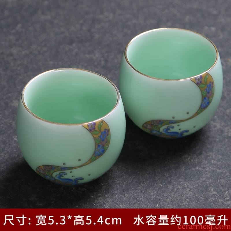 Tasted silver gilding celadon sample tea cup of jingdezhen ceramic individual small bowl kung fu tea master single CPU fragrance - smelling cup cup
