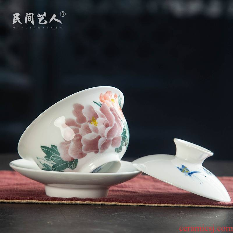Tureen ceramic bowl tea cups three Tureen kung fu tea set only worship under glaze colorful porcelain tea cups