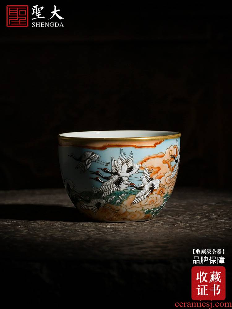 Holy big comprehensive enamel teacups hand - made ceramic kung fu Dan crane chaoyang cylinder cup single cup all hand of jingdezhen tea service