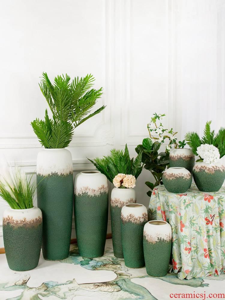 Retro nostalgia of jingdezhen ceramic vase home sitting room ground flowerpot flower arranging furnishing articles pot cylinder adornment