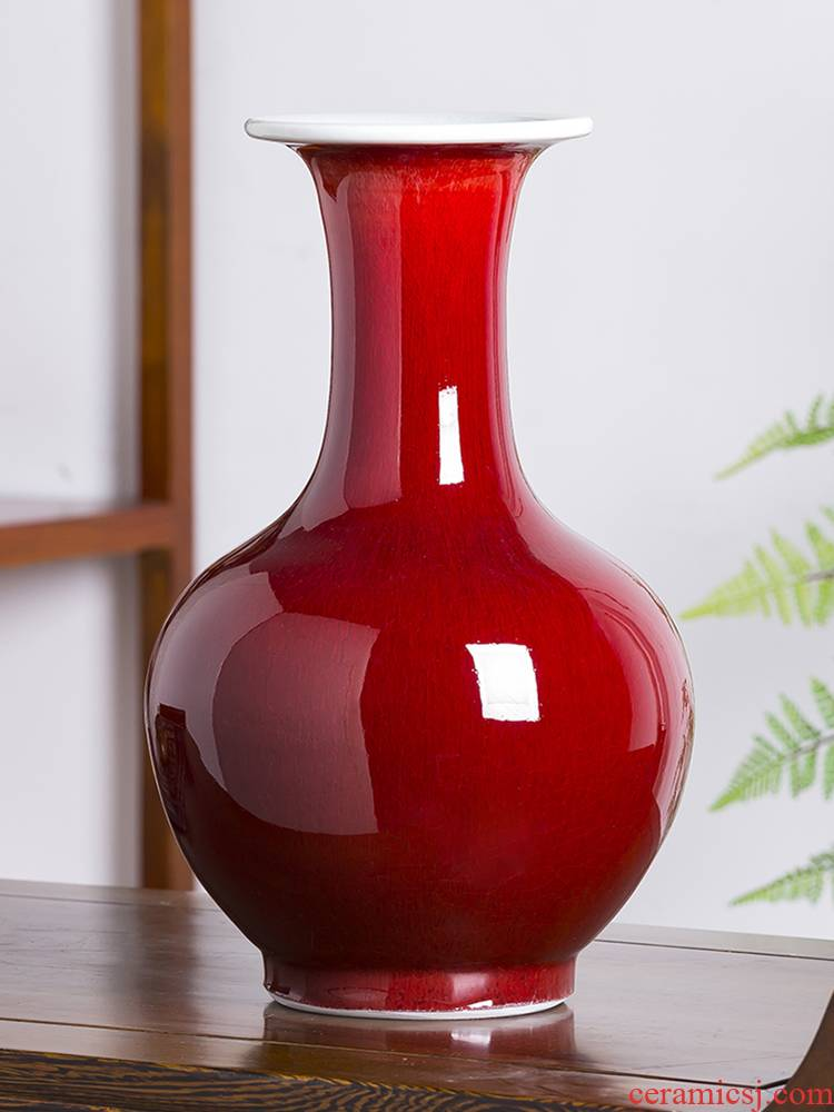 Jingdezhen porcelain ceramic ruby red vase flower arranging new Chinese style household furnishing articles rich ancient frame sitting room adornment ornament