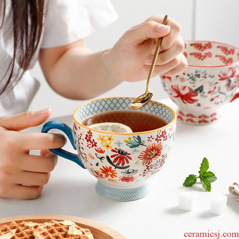 Export super beauty under the heavy hand draw relievo glaze color breakfast coffee cup oats cup ceramic cup