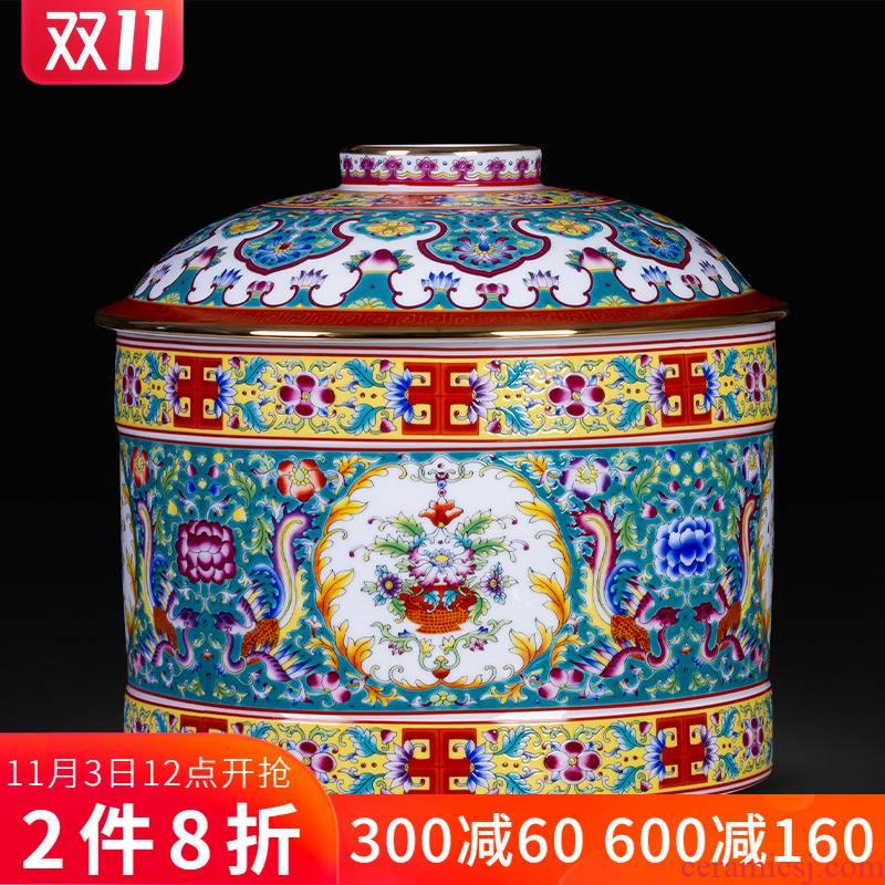 Colored enamel porcelain tea pot and tea, white tea cake tea pot with cover seal moisture large storage tank furnishing articles