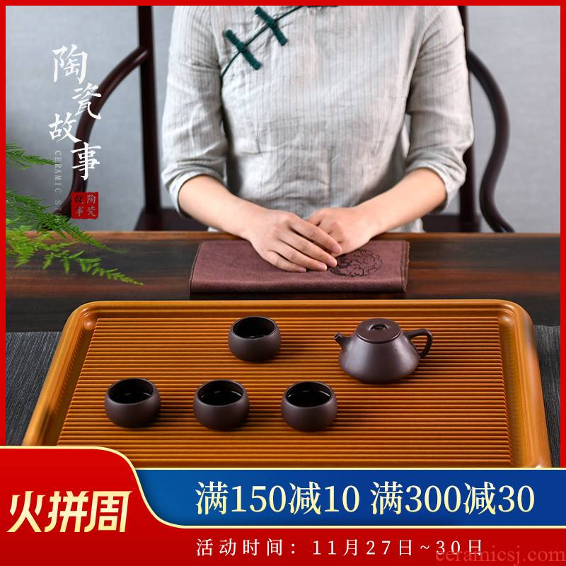 Ceramic story bakelite saucer plate of solid wood tea tray household contracted drainage type dry tea mercifully kung fu tea set