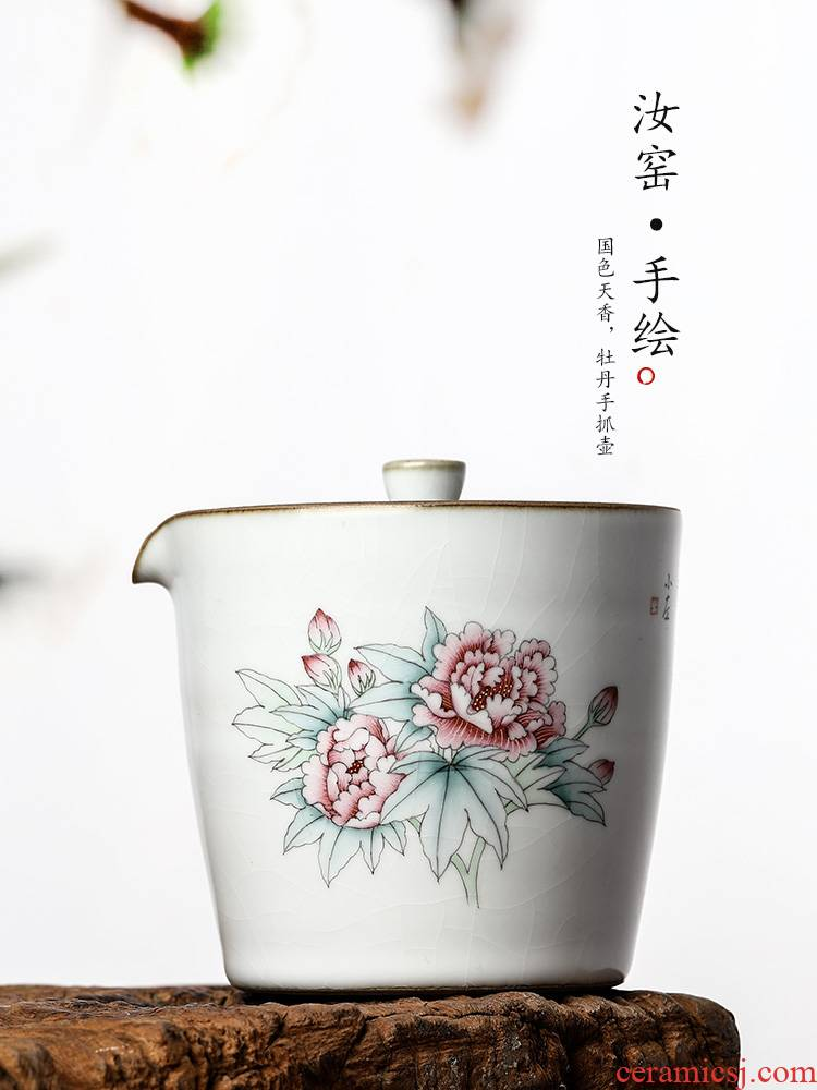 Kongfu tea hand grasp pot of pure manual your up tureen teapot jingdezhen hand - made peony hot tea getting out