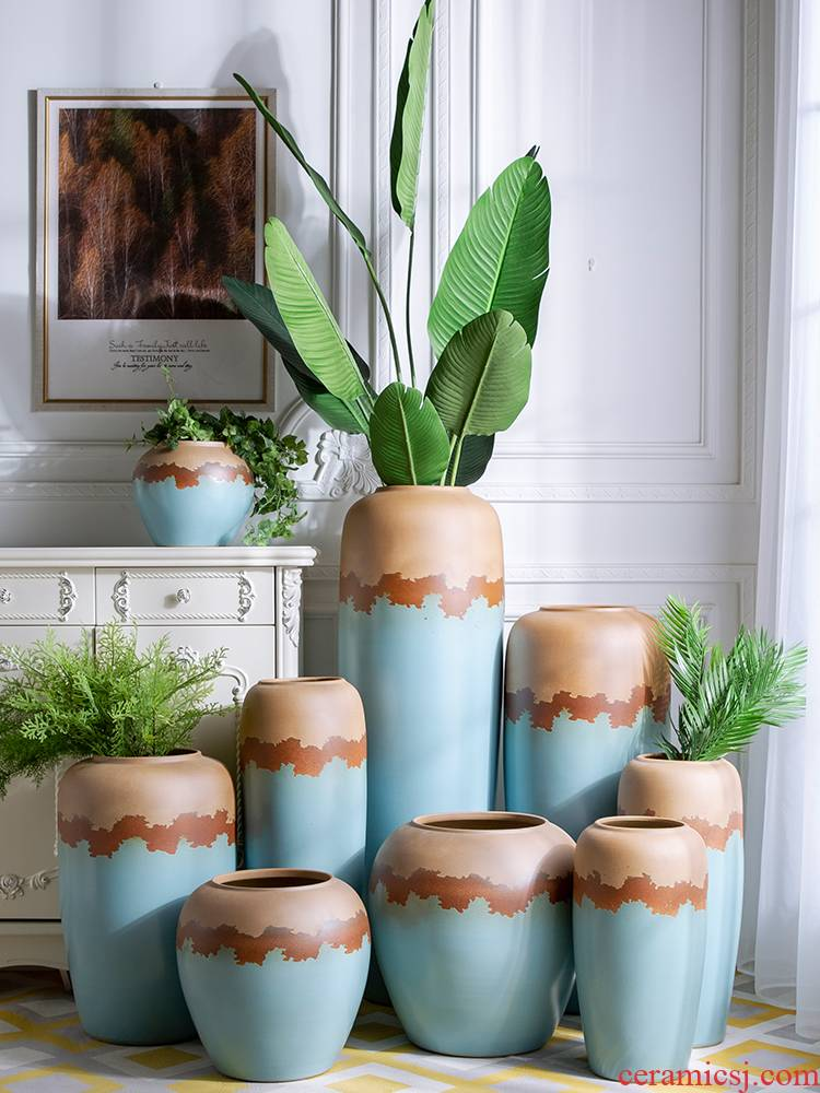 Jingdezhen ceramic sitting room of I and contracted creative home for dry flower POTS decorative vase furnishing articles be born