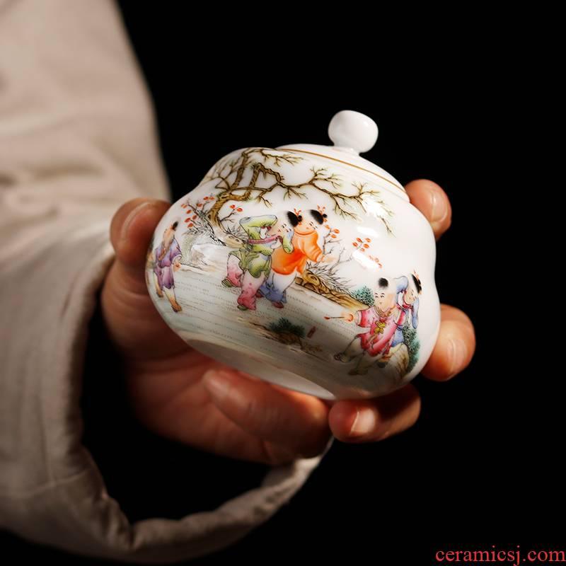 The Owl up jingdezhen high - grade hand - made tea set fine ceramic tea pot small seal pot lad gourd