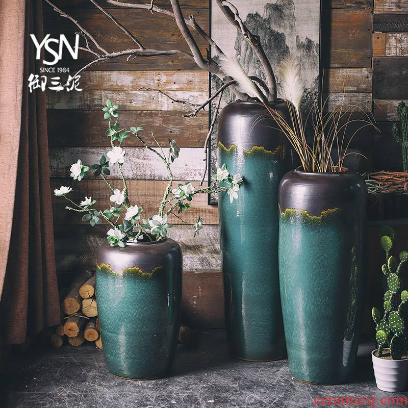 Light key-2 luxury ground simulation flower flower arranging furnishing articles villa hotel sitting room adornment three mud jingdezhen ceramic vase