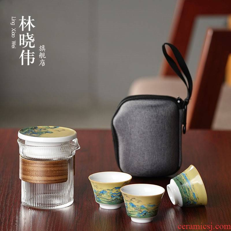 Lin Xiaowei crack cup against a pot of three cups of hot ceramics glass portable travel kung fu tea set contracted