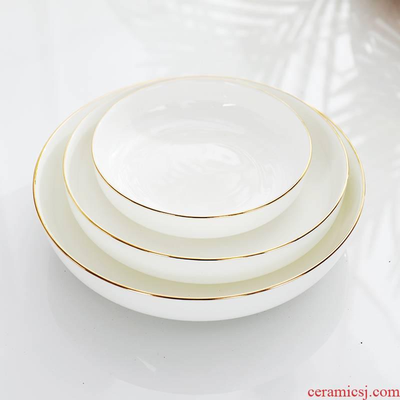 Ipads porcelain dishes son home deep dish European - style Jin Bianshang jingdezhen ceramic plate dish ideas of circular plate