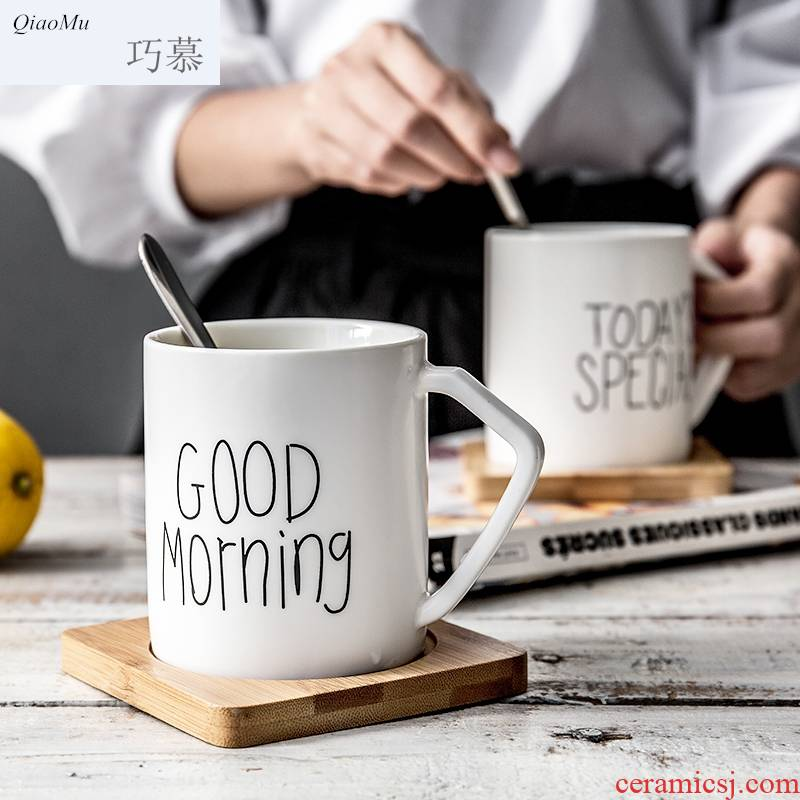 Qiam qiao mu ceramic creative with a spoon with mat glass mugs breakfast coffee cup office picking cups