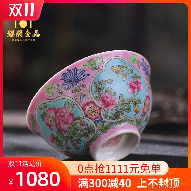 Jingdezhen hand - made to pastel pink flowers 盌 large manual master single cup tea bowl kung fu tea cups
