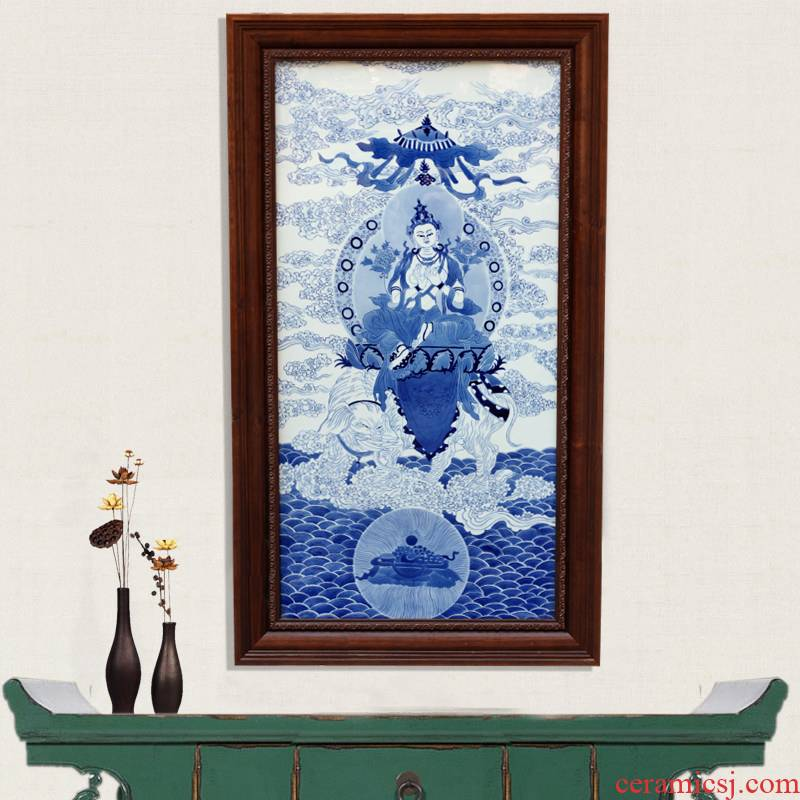 Jingdezhen ceramic blue and white figure of Buddha hand - made porcelain plate painter hangs a picture murals in the sitting room porch decoration