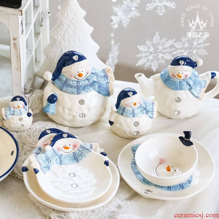 Furnishing articles of lovely Christmas ceramic decoration snack bowl teapot receive tank caster snowman plate