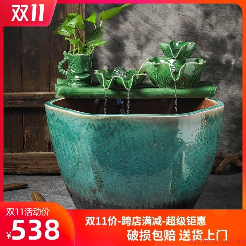 Jingdezhen ceramic aquarium sitting room humidifier water fountain aquarium fish bowl lotus garden balcony water tanks