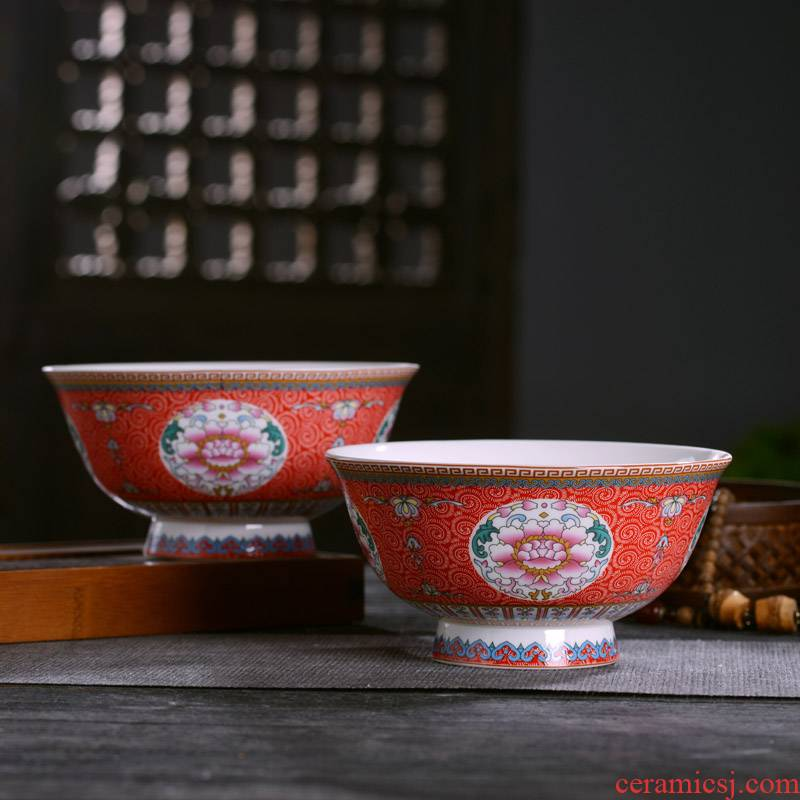 Jingdezhen ceramics bowl plates spoon suit Chinese style household ipads porcelain tableware rice porridge soup such as bowl bowl of long life