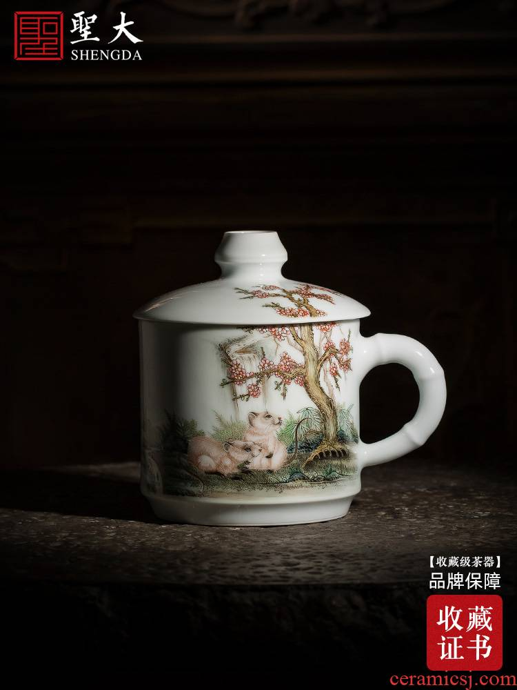 Holy big office cup of pure hand - made ceramic famille rose flowers rat office cup tea cup all hand of jingdezhen tea service