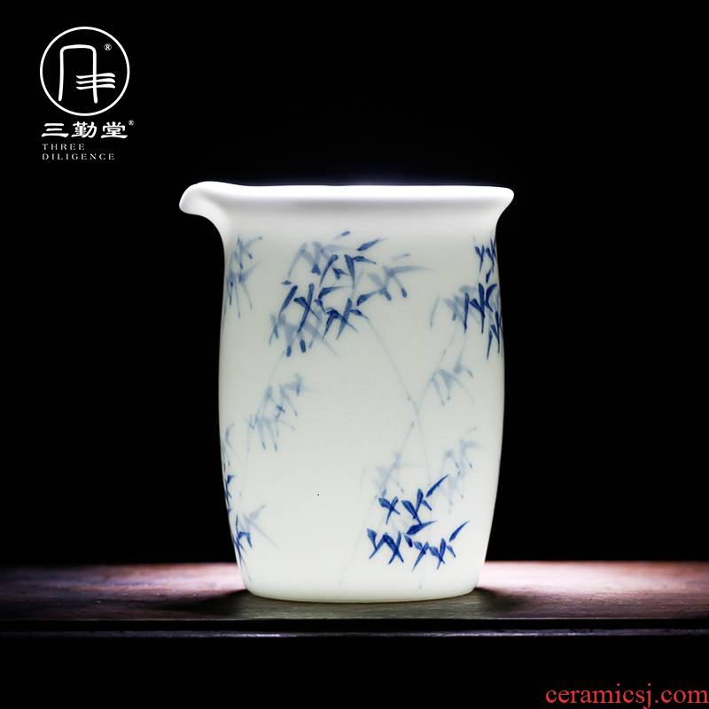 The three frequently do kung fu tea set hand - made of blue and white porcelain of jingdezhen ceramics fair keller and a cup of tea ware S32026