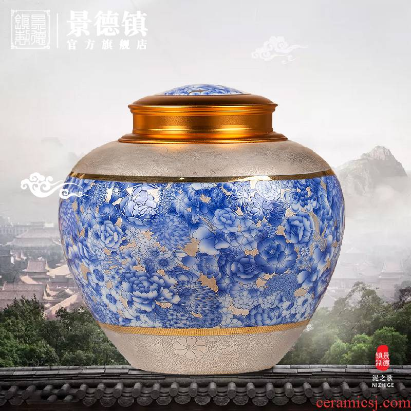 Jingdezhen with high - end paint POTS caddy fixings flagship stores apple as cans Chinese wind restoring ancient ways appreciation collection tank