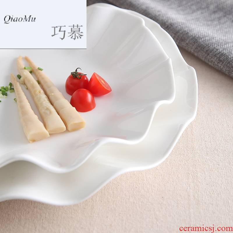 Qiao mu lotus leaf dish food dish pure white ceramic shallow plate of spaghetti western disc plate snack plate of fruit