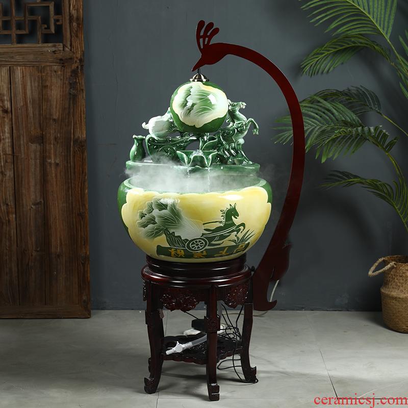 Jingdezhen ceramic aquarium put money circulating water ceramic filter goldfish bowl furnishing articles lotus feng shui vats