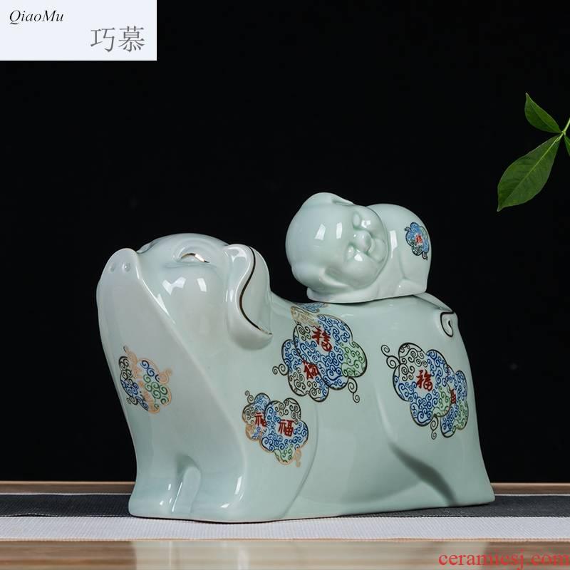 Qiao mu jingdezhen ceramic zodiac bottle creative gifts customized 1.5 jin three catties liquor wine bottle sealed jars