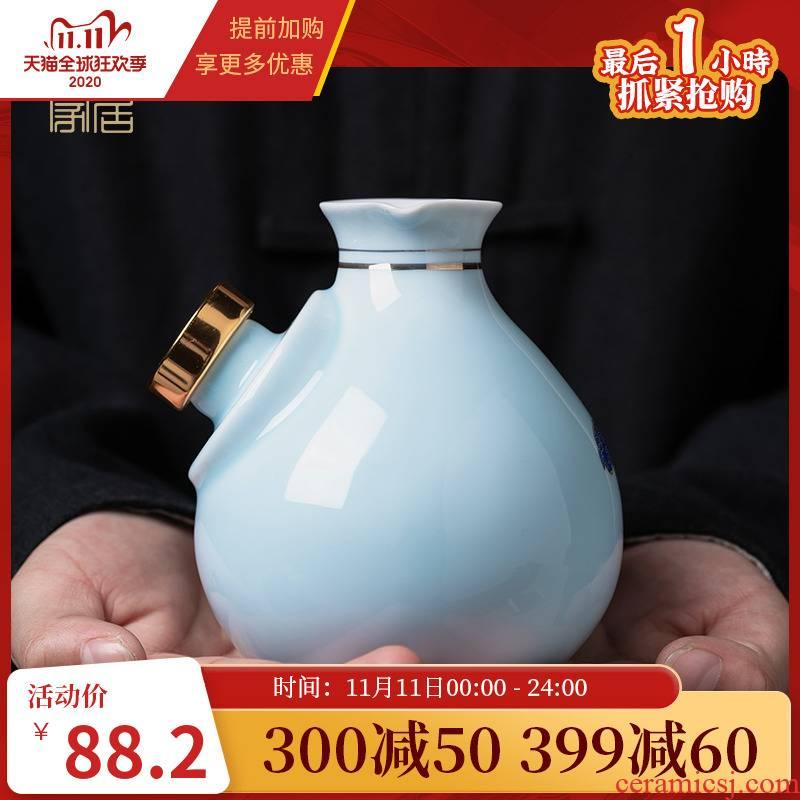 Luo wei wen hip household hot hip ceramics jingdezhen Chinese ji blue suit yellow wine glass wine cup