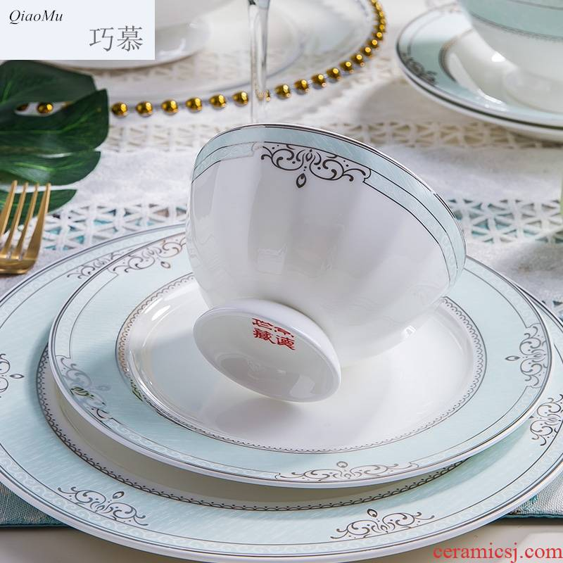 Qiao mu chopsticks sets of household of Chinese style of jingdezhen ipads China tableware ceramic dishes dishes to eat bread and butter dish bowl