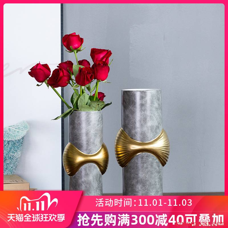 I and contracted light key-2 luxury ceramic vase furnishing articles sitting room dry flower arranging flowers, flower implement TV cabinet ceramic home decorations