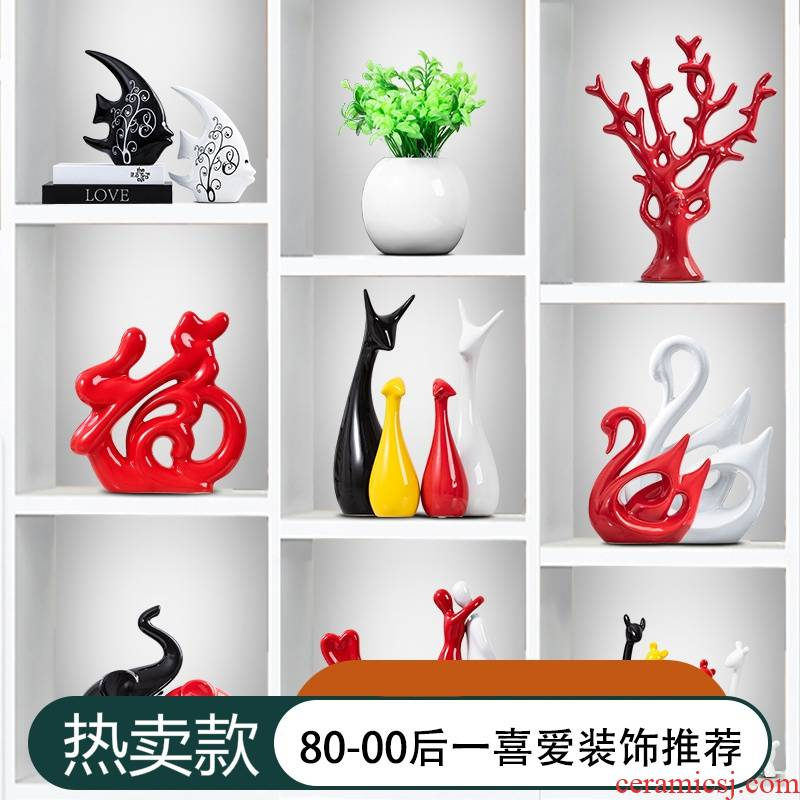 Creative home decoration ceramic handicraft TV ark, sitting room place decoration wedding present a family of three