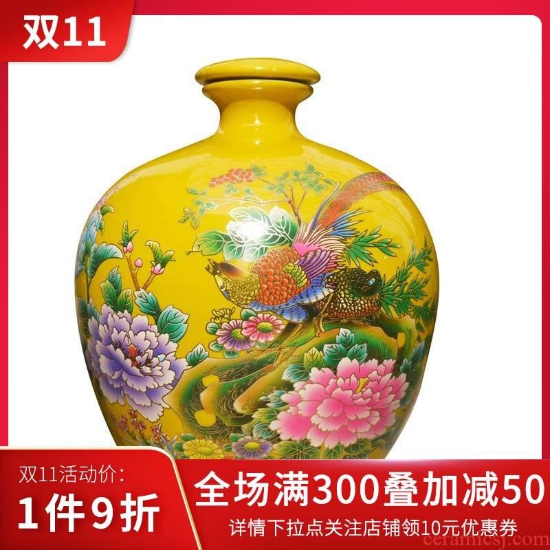Package mail 10 jins of jingdezhen ceramic jars small expressions using jars wine colored glaze porcelain bottle wine bottle seal bottle
