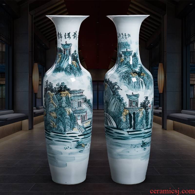 Jingdezhen porcelain ceramic hand - made bright future landing large blue and white porcelain vase home furnishing articles hotel decoration