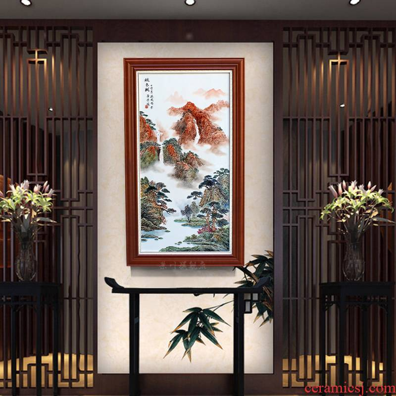 The Assignment of jingdezhen ceramic painting hand - made of autumn porcelain plate painting the living room sofa setting wall adornment of Chinese style porch hang a picture