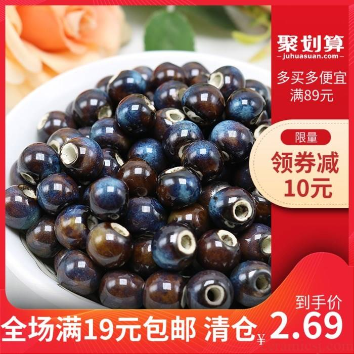 Jingdezhen ceramic beads flower glaze sapphire blue variable mm10 6 mm bead bags