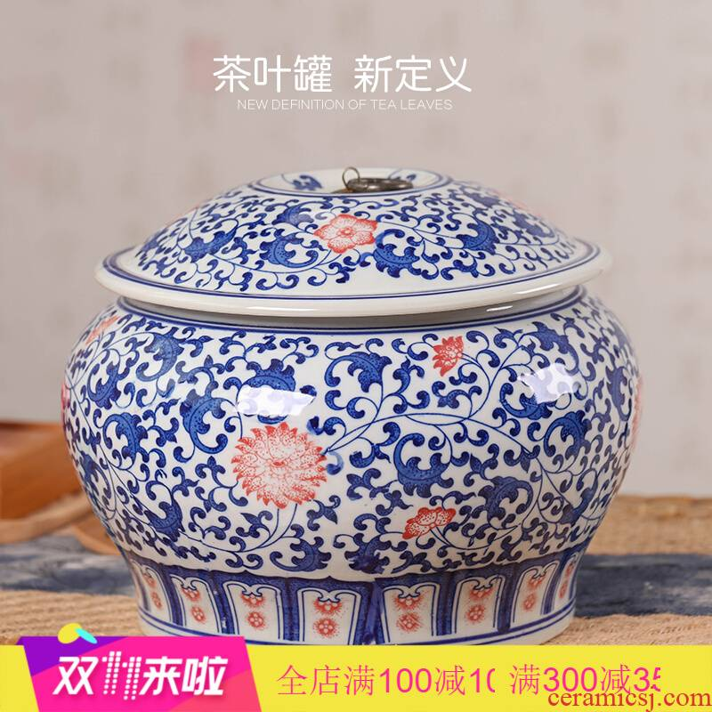 Poly real scene of jingdezhen ceramics caddy fixings large pu - erh tea POTS sealed storage tank tea packaging ceramic pot of tea