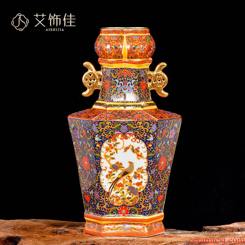 Jingdezhen ceramic vase furnishing articles antique Chinese style living room adornment household enamel TV ark to restore ancient ways furnishing articles