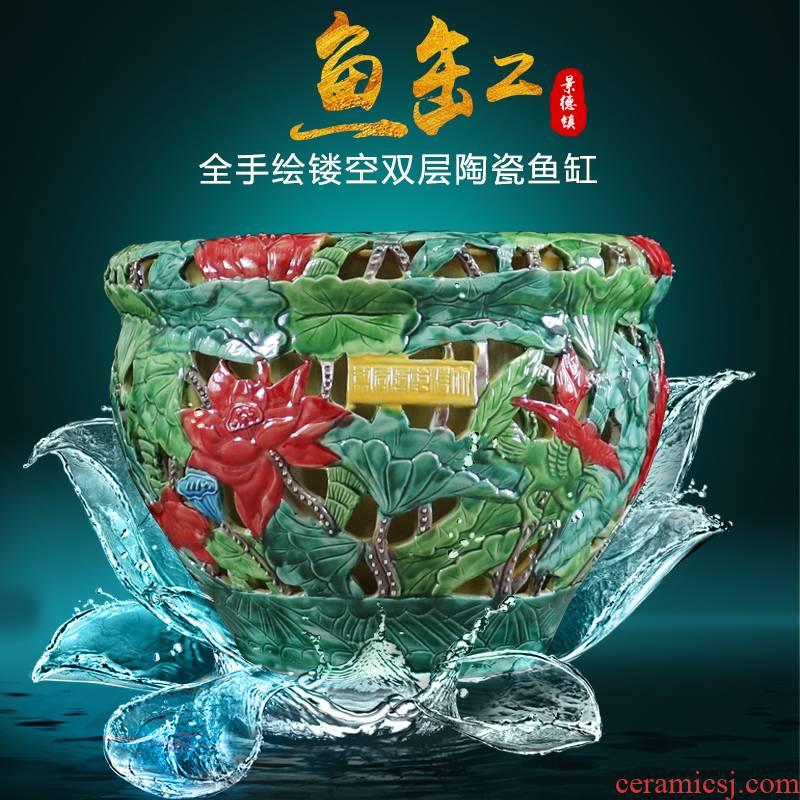 Hollow out carve manual hand - made ceramics creative furnishing articles tank aquarium pot sitting room furniture art ornaments