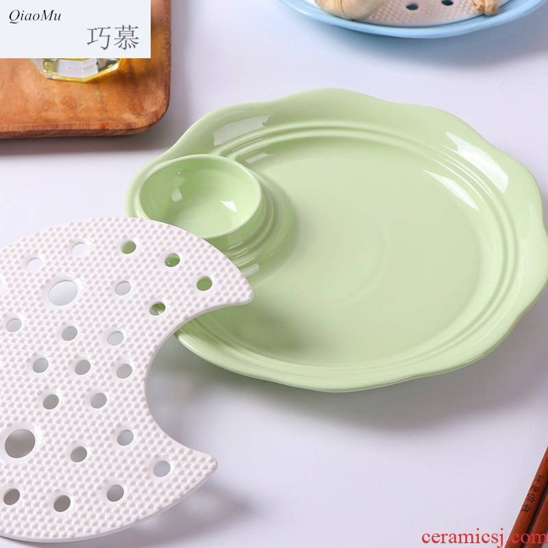 Qiao mu ceramic double disk circular household dumpling dish drop large dumpling dish 10 inches with vinegar dish of steaming water
