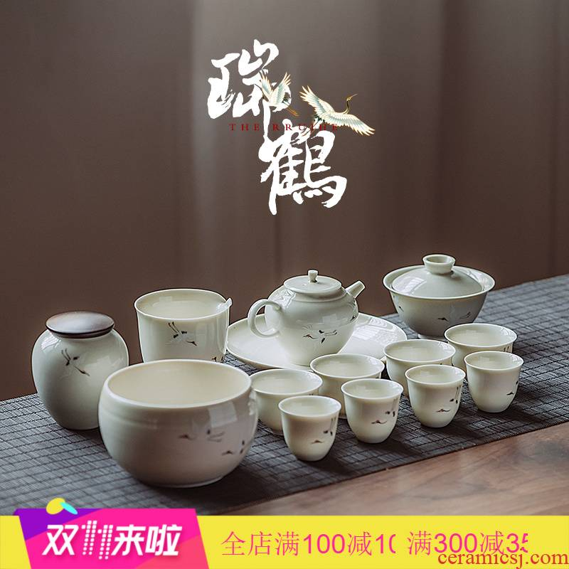 The Poly real scene set of jingdezhen hand - made rui crane figure plant ash tea tureen manual kung fu tea set