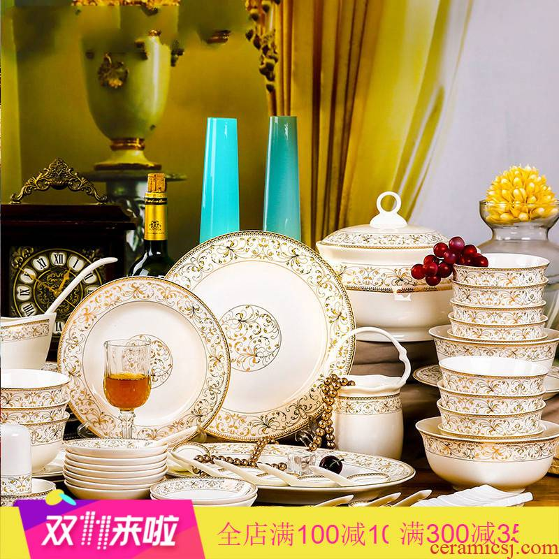 The Poly real scene dishes suit household jingdezhen ceramics tableware ipads porcelain bowl chopsticks Chinese eat bread and butter plate