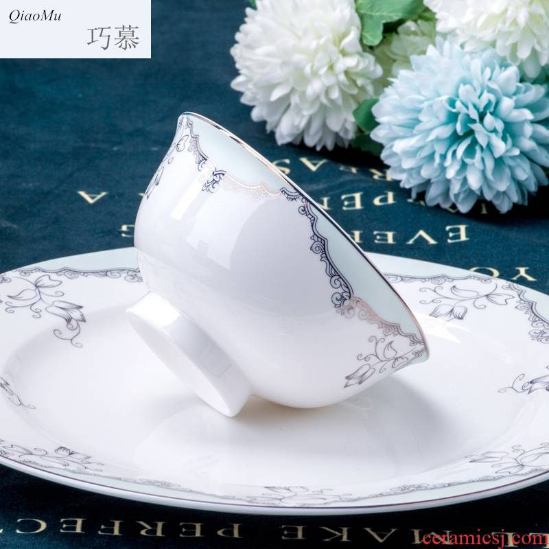 Qiao mu cutlery set dishes household of Chinese style and contracted jingdezhen bowls of ipads plate suit household dish bowl suit