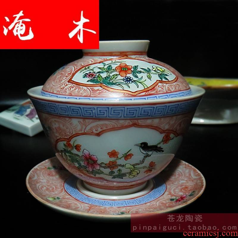 Flooded large wood powder enamel tureen jingdezhen ceramics manual hand flowers only three schools of thought contend tureen bowl tea cups